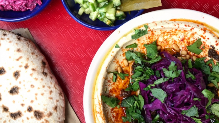 Hummus with lamb merguez and pickled cabbage