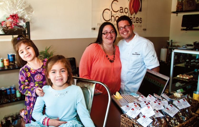 Trillos family at Cao Chocolates store