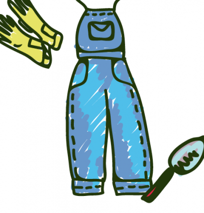 Gardener tools and uniform illustration