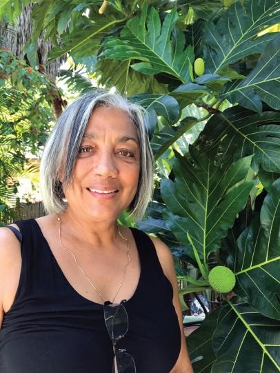 Lopez-Bethel and her breadfruit tree