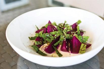 Yogurt and garden greens salad