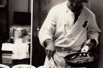 Chef plates his dishes