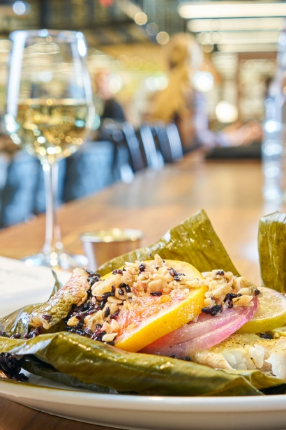 Yellowtail in banana leaf