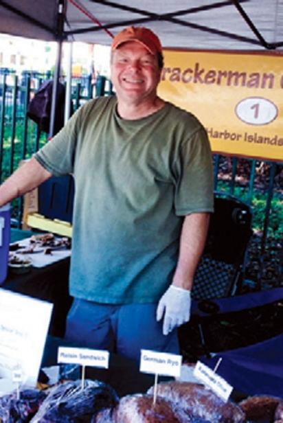 At Upper Eastside Farmers Market – baker Stefan Uch of Crackerman Crackers