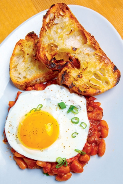 fried eggs and beans