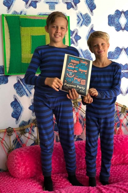 Sam and Simon lead Poetry in Pajamas