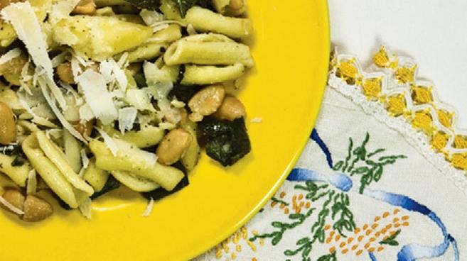 Escarole and White Bean Cavatelli with Shaved Parmigiano Reggiano