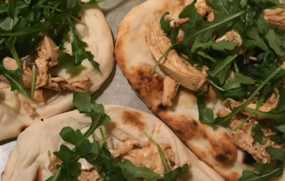 Mizuna Mustard Greens Thai Chicken Flatbread