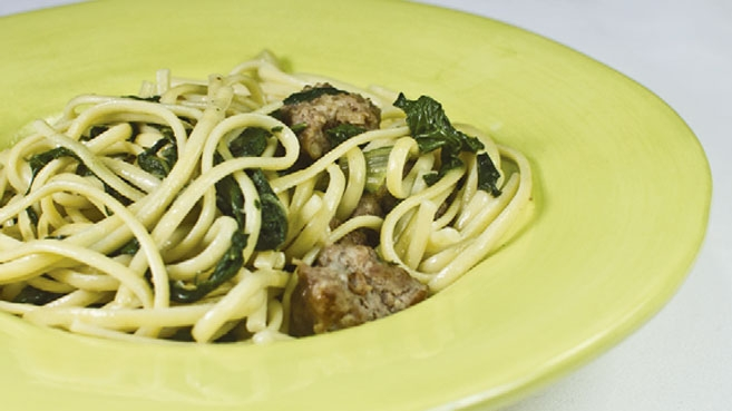 Spaghetti with Swiss Chard, Fennel and Sausage
