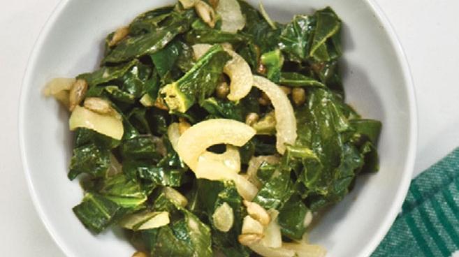 Warm Collard Greens Salad with Lemon Tahini Dressing