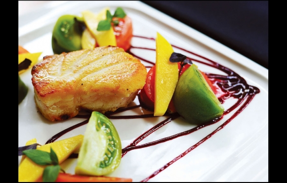 West Florida Grouper with Heirloom Tomatoes, Mango, Blackberry Drizzle