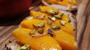 Mango Toast with Cardamom Tahini